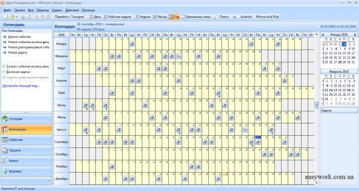 Календарь Дней Рождений: программа для планирования Efficient Calendar