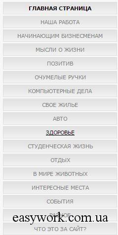 Разделы сайта, которые пытаются охватить все сферы жизни