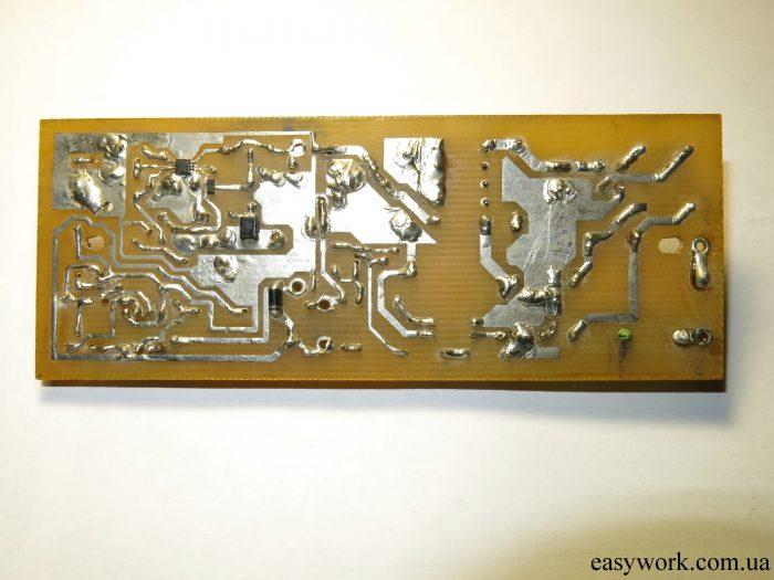 Плата, изготовленная при помощи лазерно-утюжной технологии (ЛУТ)