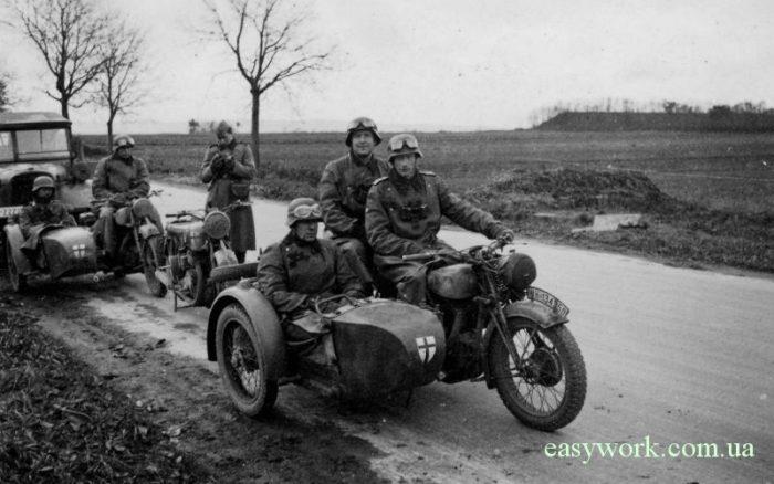 Мотоциклы Вермахта BMW R71 времен Второй мировой войны