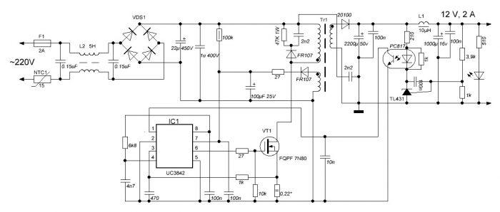 Типичная схема включения микросхемы UC3842