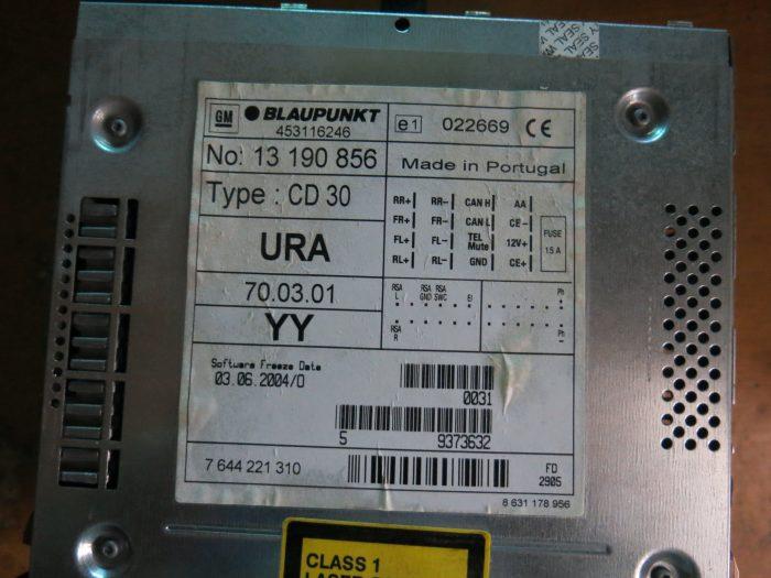 Маркировка магнитолы CD30 BLAUPUNKT 13 190 856