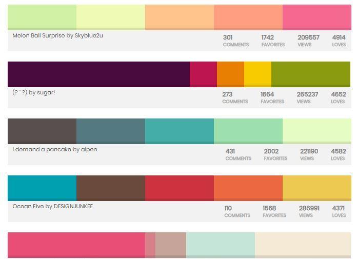 Пример цветовых комбинаций для окраски сайта