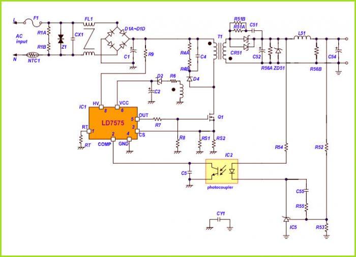 Типичная схема подключения микросхемы LD7575