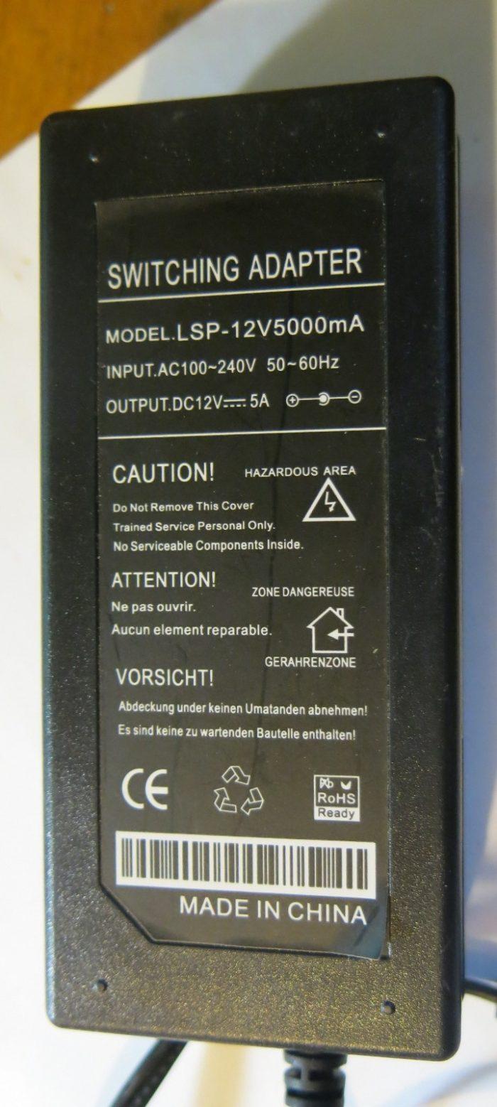 Маркировка блока питания LSP-12V5000mA