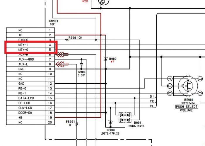 Шины KEY-0 и KEY-1 на панели