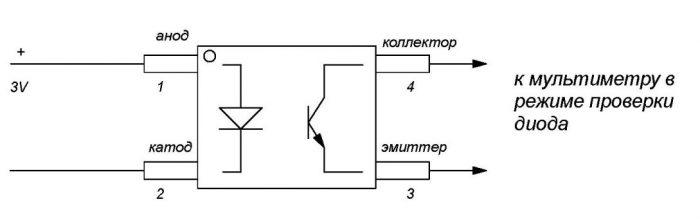 Схема проверки оптопары