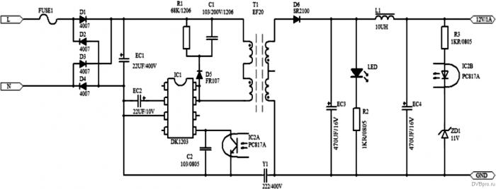 Типичная схема включения ШИМ DK3113 (DK1203)