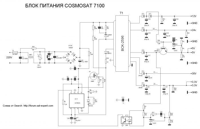 Принципиальная схема блока питания тюнера COSMOSAT 7100