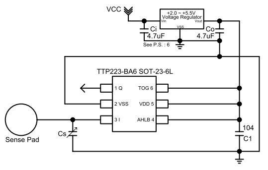 Типичная схема подключения TTP223-BA6