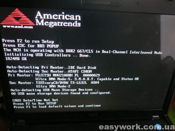 Заставка сообщающая о том, что BIOS ASUS A7J сброшен