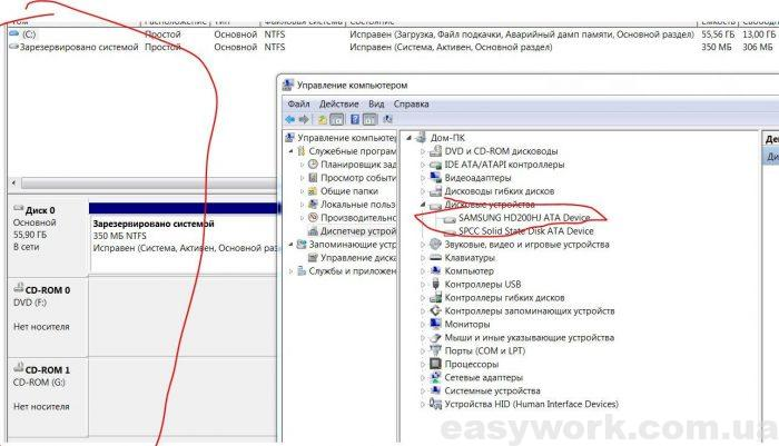 Не отображается диск в Управлении дисками