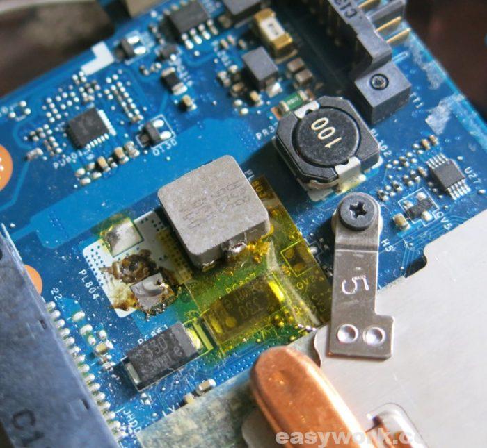 Подложенный термоскотч под резистор питания видеоядра