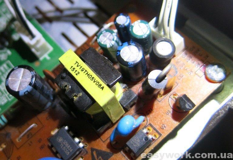 Замененные конденсаторы в блоке питания