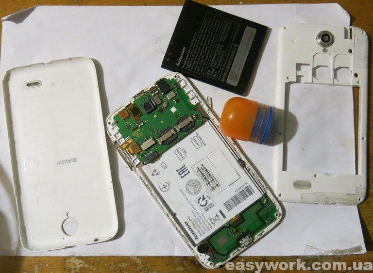Разобранный телефон Lenovo A850
