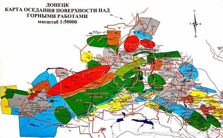 Карта оседания поверхности земли в Донецке