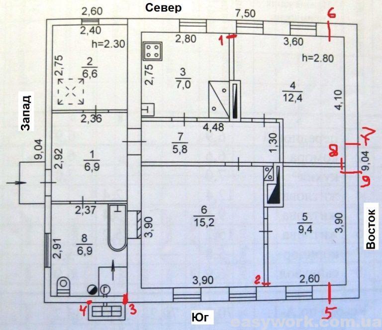 Расположение трещин в доме