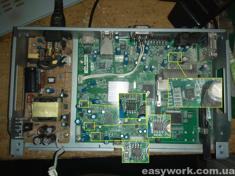 Вышедшие из строя микросхемы OPENBOX S6