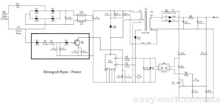 Принципиальная схема блока питания STRONG SRT 8500