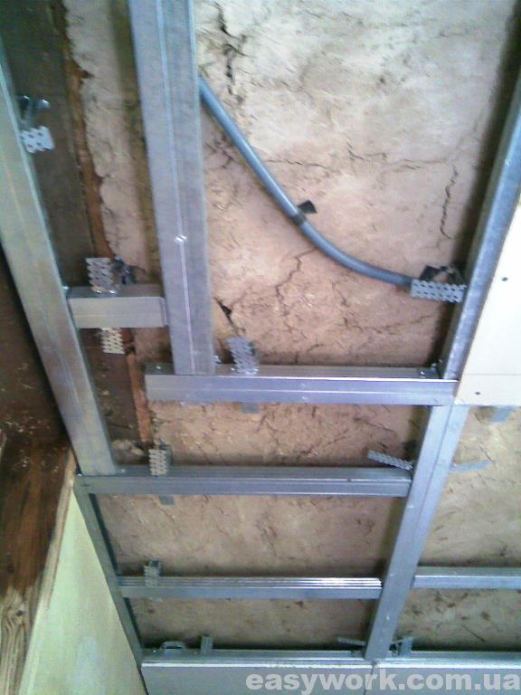 Монтаж гипсокартона на потолок в кухне (фото 5)