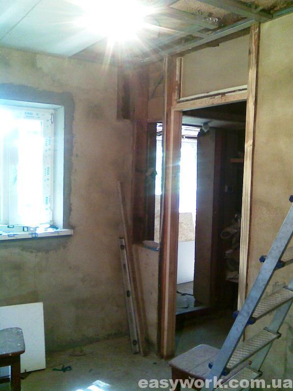 Монтаж гипсокартона на потолок в кухне (фото 1)