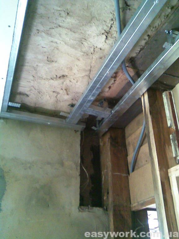 Монтаж гипсокартона на потолок в кухне (фото 3)