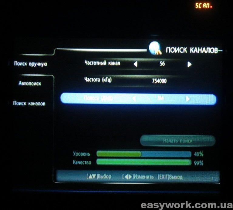 Процесс ручного сканирования каналов (фото 1)