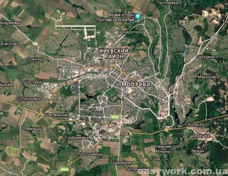 Полтава и ее окрестности (фото со спутника)