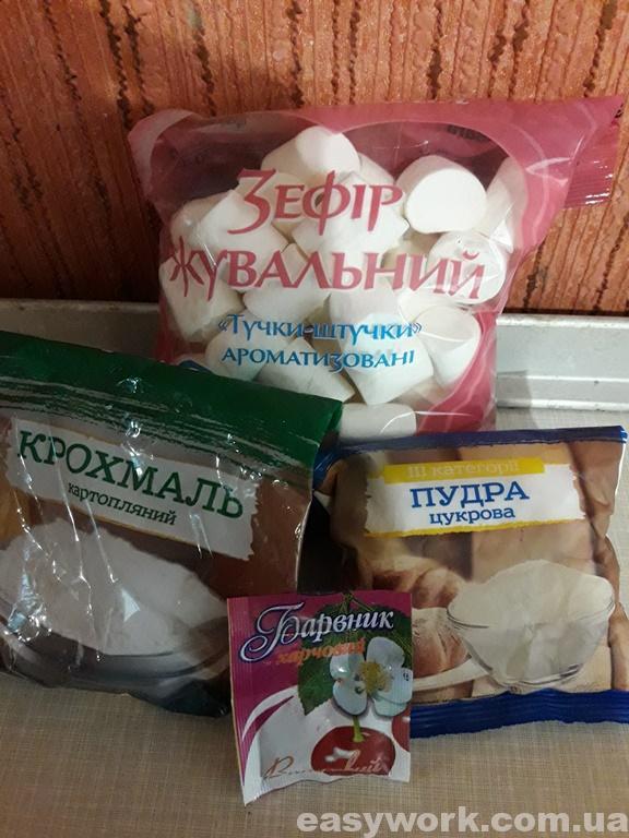 Ингредиенты для приготовления мастика из маршмеллоу
