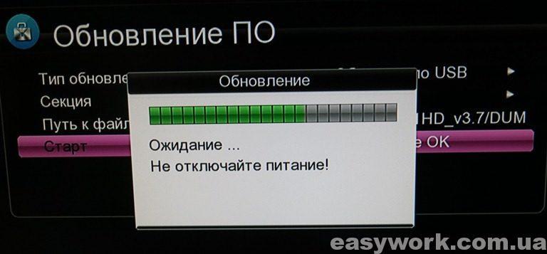 Процесс обновления по USB