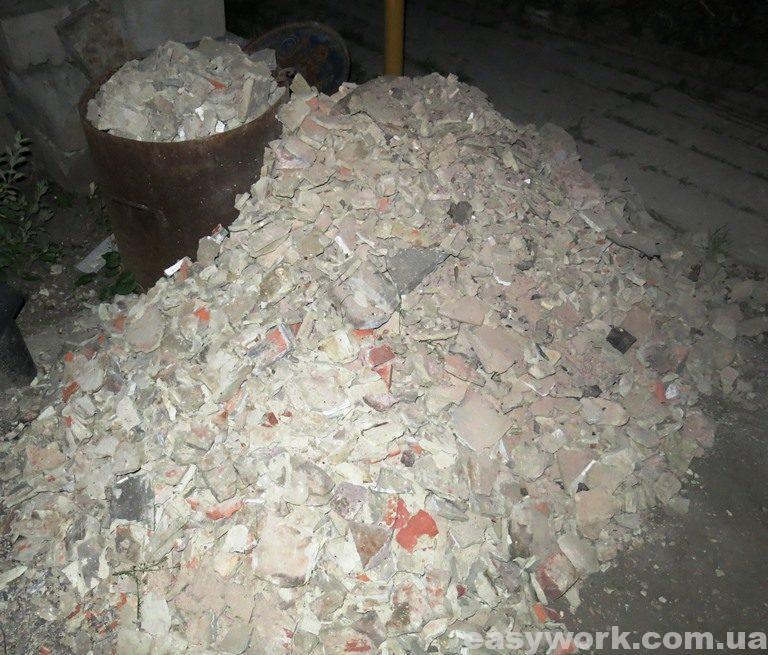 Строительный мусор от демонтажа вентканала