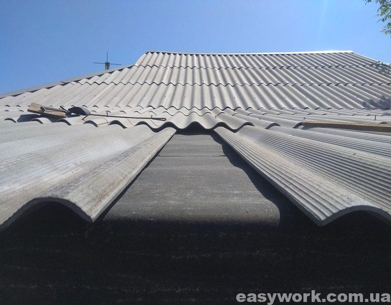 Середина крыши пристройки