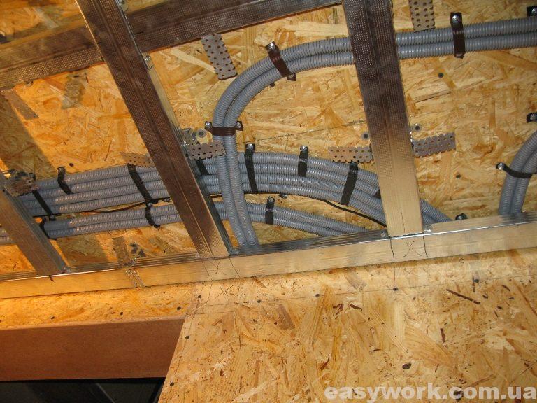 Монтаж металлокаркаса под гипсокартон на потолке в прихожей (фото 5)