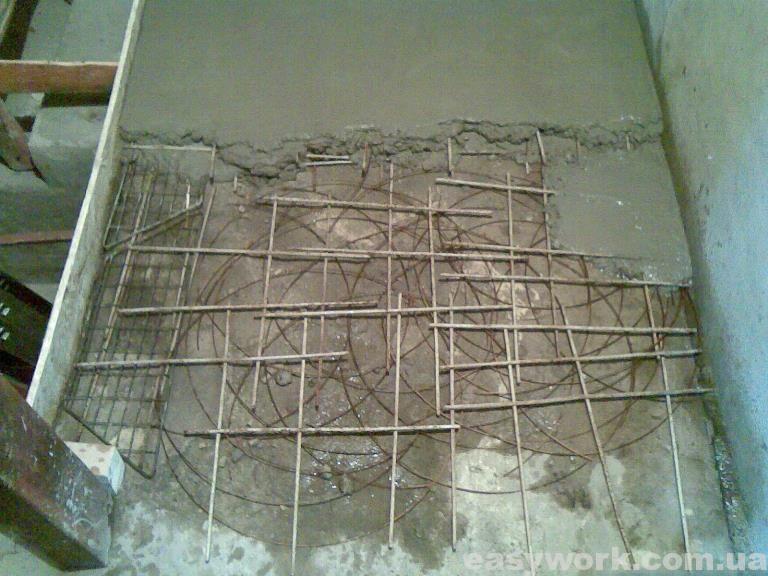 Заливка стяжки с использованием арматуры