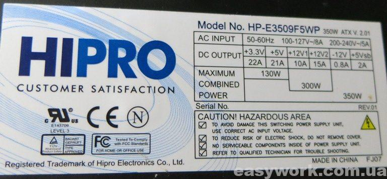 Маркировка БП HIPRO HP-E3509F5WP