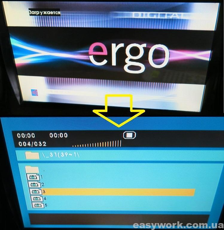Интерфейс прошивки ERGO TF-DVD999TV
