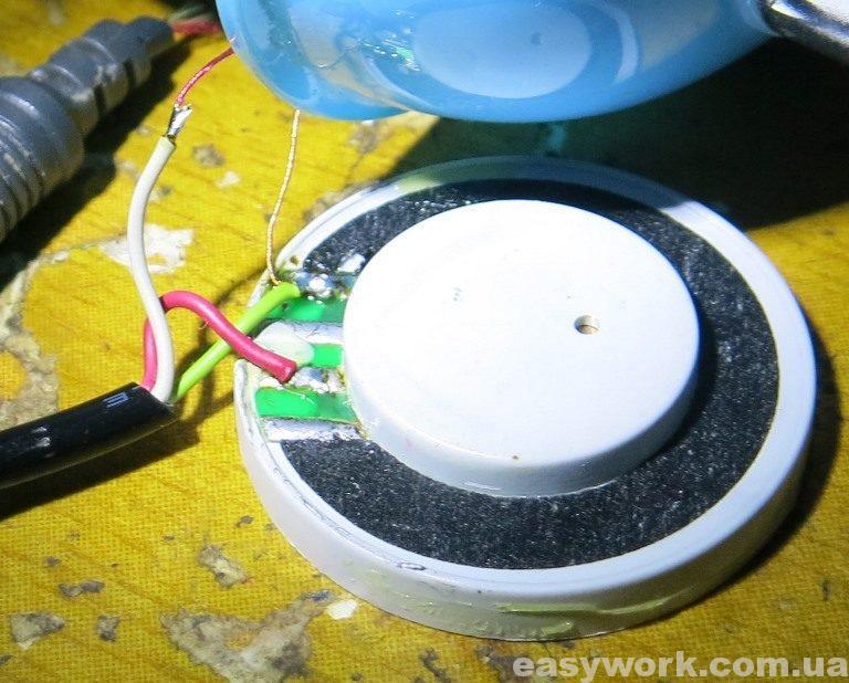 Запайка нового кабеля в наушники Kanen KM-740 Blue
