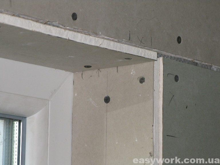 Стыковка гипсокартона (в районе окна) (фото 2)