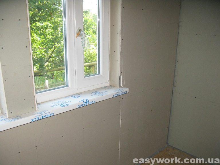 Стыковка гипсокартона (в районе окна) (фото 3)