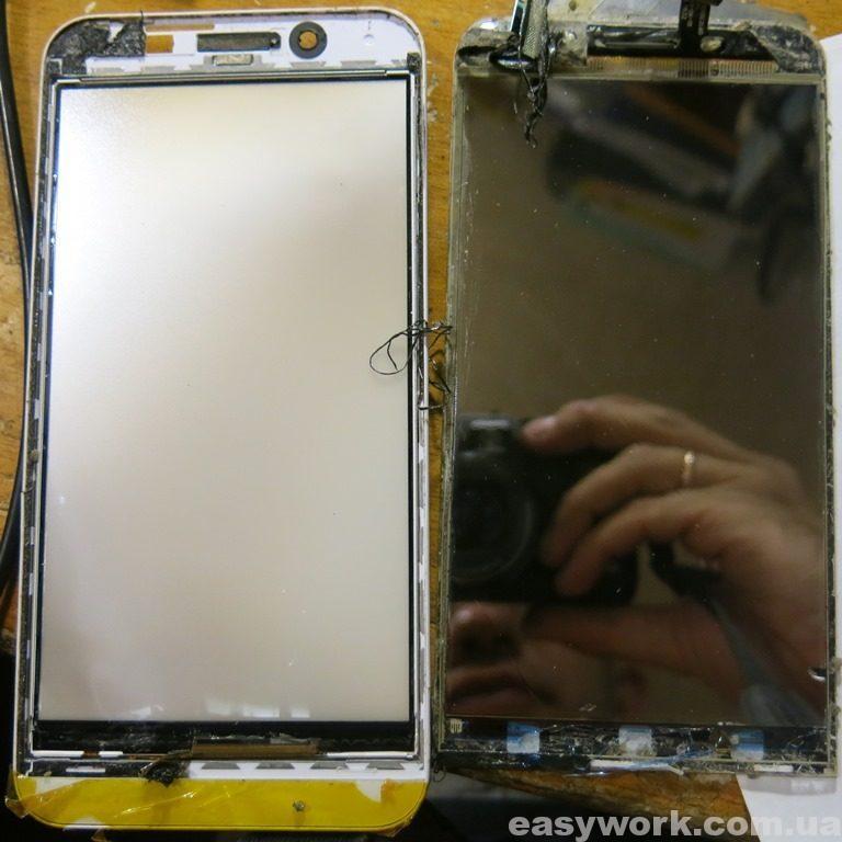 Развалившийся на две половинки дисплей телефона