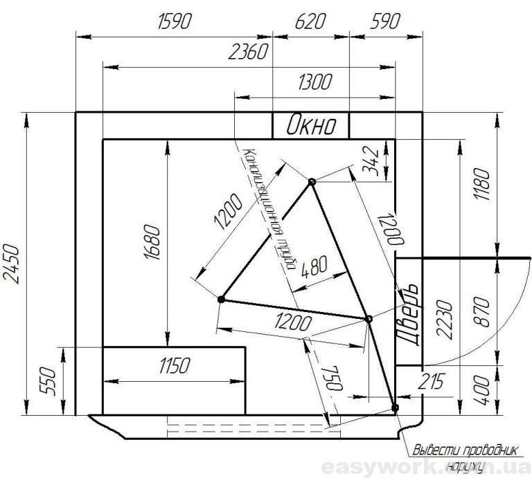 Расположение заземлителя в помещении (чертеж)