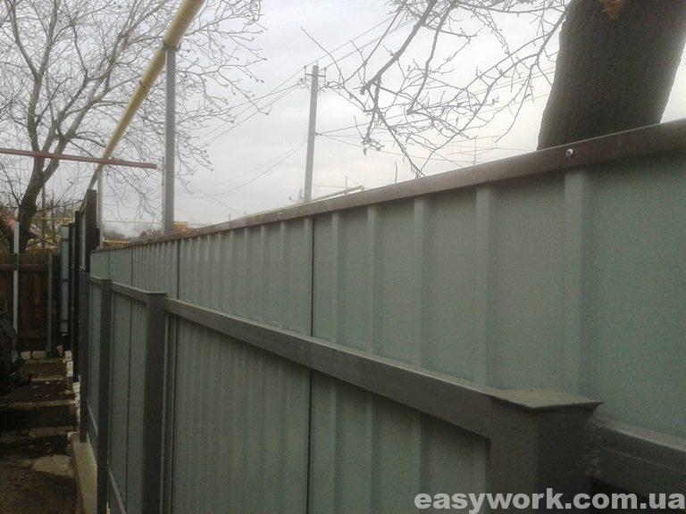 Забор из профнастила (вид изнутри) фото 3