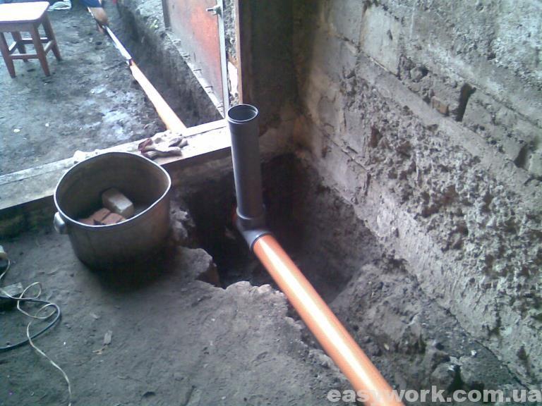 Прокладка труб под воротами гаража
