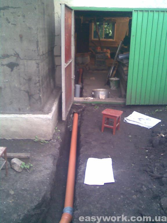 Прокладка канализационных труб снаружи