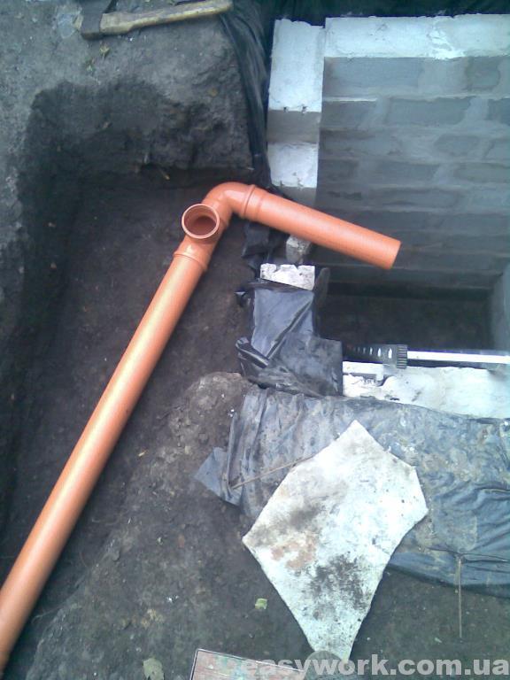 Вход канализационной трубы в септик