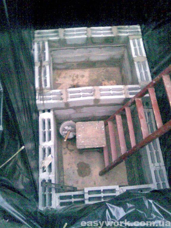 Выкладывание стен внутри ямы (фото 2)