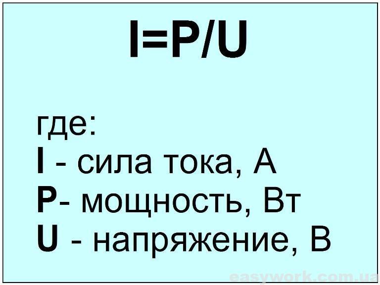 Формула для определения силы тока