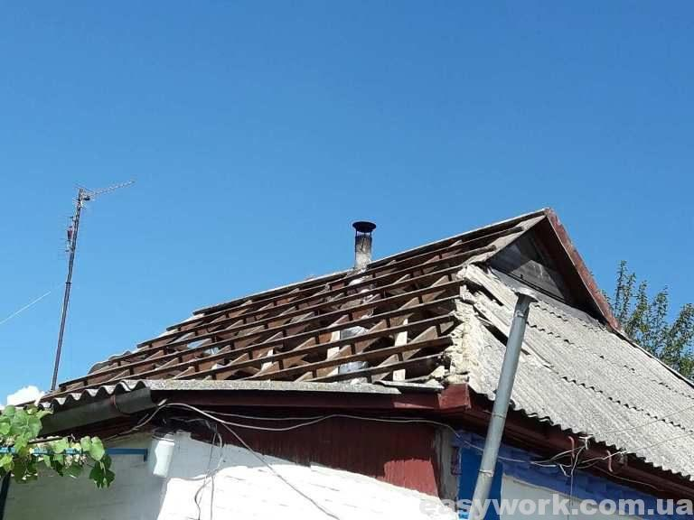 Демонтаж шиферной крыши (фото 1)