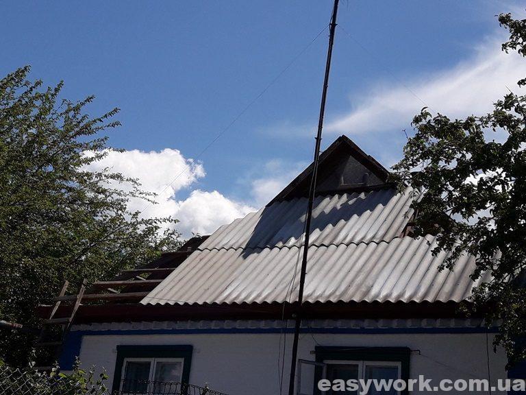 Монтаж нового шифера на крышу