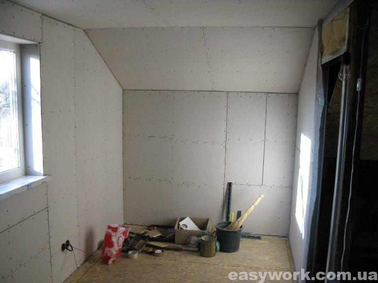 Монтаж гипсокартона в детской комнате (фото 8)